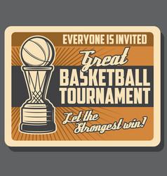 Basketball tournament ball in basket vector