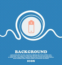 battery icon sign Blue and white abstract vector image