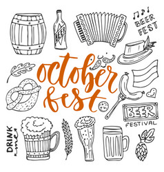 Beer october fest doodle icons set beer glasses vector
