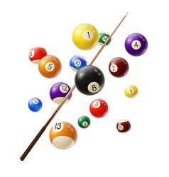 billiard balls and cue 3d realistic vector image