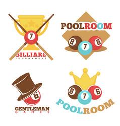 Billiard pool club poolroom labels vector