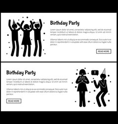 Birthday party posters with people silhouettes vector