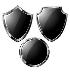black steel shields vector image