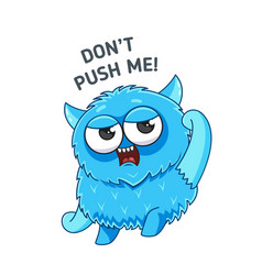 Blue angry monster sticker vector