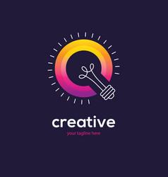 bright colorful light bulb logo vector image