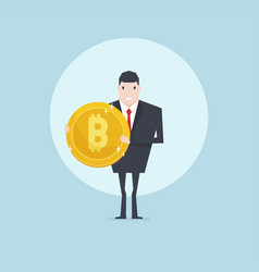 businessman holding a golden bitcoin coin vector image
