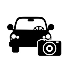 Car and photographic camera icon vector