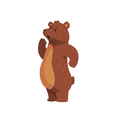 cartoon grizzly bear calling up for someone cute vector image
