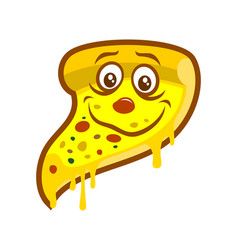 Cartoon pizza slice with melted cheese character vector