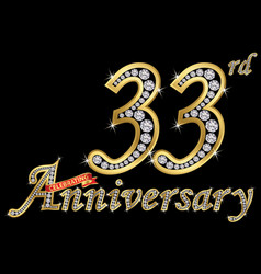 celebrating 33th anniversary golden sign with vector image
