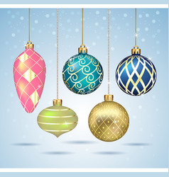 christmas balls ornaments hanging on gold thread vector image vector image