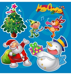 christmas elements blue vector image