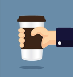 coffee glass in hand cartoon vector image