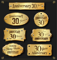 Collection of anniversary retro gold labels 30 vector