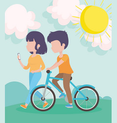 Couple with bike and smartphone nature sun healthy vector