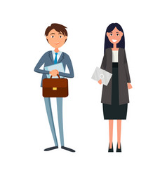 Coworkers in formal wear lady manager envelope vector