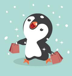 Cute penguins shopping vector