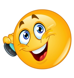 emoticon with cell phone vector image