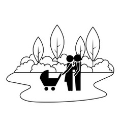 family couple with baby cart in landscape vector image