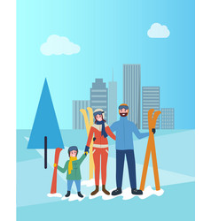 family skiing together father and mother with kid vector image