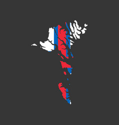 faroe islands map and flag vector image