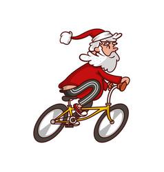 Fat santa claus riding bicycle old smiling man vector