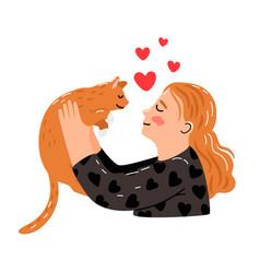 female hugs cat vector image