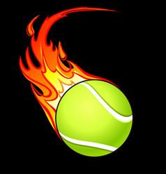 Flaming tennis ball vector