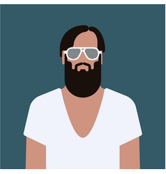 Flat hipster man character vector