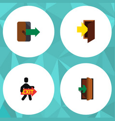 flat icon emergency set of directional entrance vector image