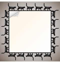 Frame with silhouette black cat vector