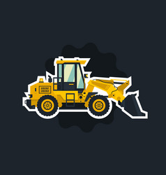 Front-end loader the object circled white outline vector