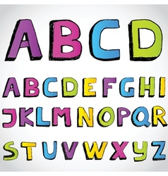 Grunge hand drawn alphabet vector image