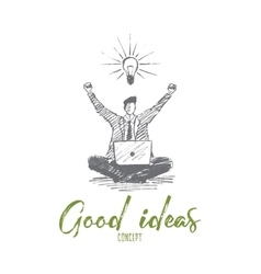 Hand drawn businessman got good idea lettering vector