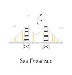 Hand drawn golden gate bridge in san francisco vector