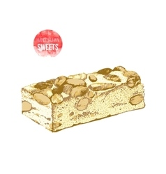 Hand drawn nougat with nuts vector image vector image