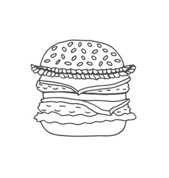 hand drawn of hamburger vector image