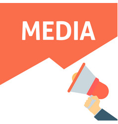 hand holding megaphone with media announcement vector image