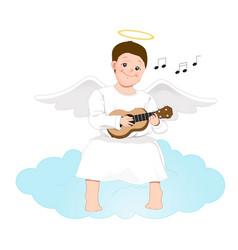 happy angel man playing the guitar cartoon vector image