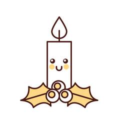 kawaii christmas candle funny cartoon celebration vector image