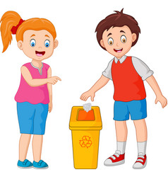 Kid throws garbage in the trash vector