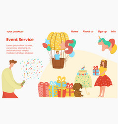 kids birthday event agency offers web site vector image