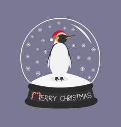 king penguin emperor in red santa hat cute vector image