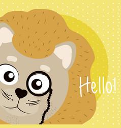 Lion cute animal cartoon card vector