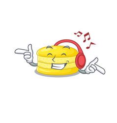 listening music lemon macaron cartoon character vector image