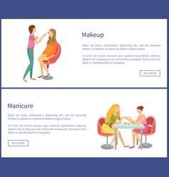 Makeup and visagiste working posters set vector