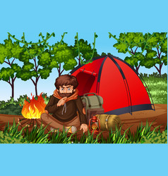 Man camping in woods vector