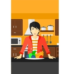 Man with healthy food vector