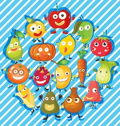 Many kind of fruits and vegetables vector image