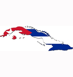 Map of Cuba with national flag vector